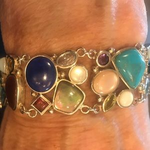 Jewelry - Sterling Silver Multi Gem Stone Bracelet 8 inches